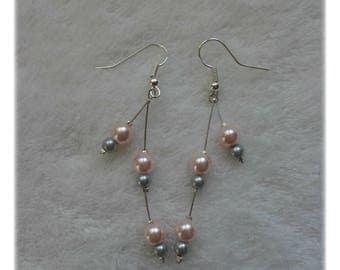 Pink and grey earrings dangling