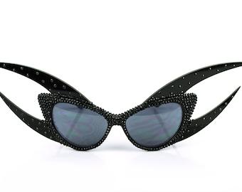 Black Swarovski Crystal Studded Claw Cateye Rhinestone Sunglasses