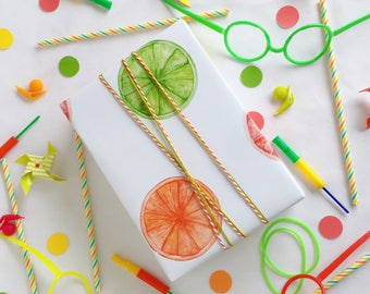 Summer Citrus Fruit Gift Wrapping Paper Lime Lemon Orange Grapefruit Blood Orange