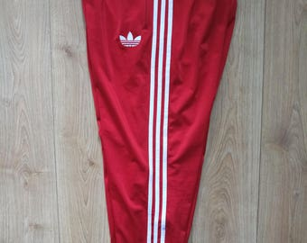 Adidas Originals 90's Vintage Mens Tracksuit Pants Old School Red White Hip Hop