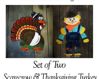 fall door hangers set of 2 scarecrow door hanger turkey door
