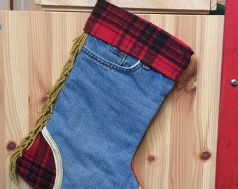 Recycled denim jeans Christmas Stocking