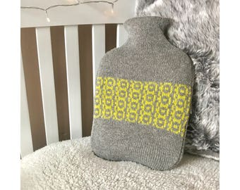 Grey Pistachio Porthole Design Hot Water Bottle Cover Knitted in Supersoft Lambswool