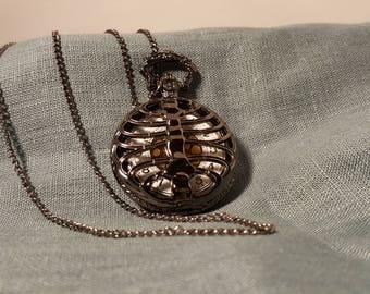 Black Rib Pocket Watch Pendant