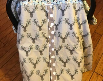 Car Seat Cover, Nursing Cover, 3 in 1, Car Seat Canopy, Blanket, Little Deer with Feathers