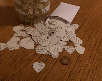 300 Table Confetti Paper Hearts made from the pages of romantic novels