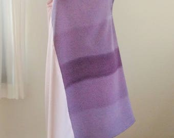 Silk Kimono Fabric Dress, Purple + Pink Dress, Bi-color asymmetric dress , One of a Kind midi dress, Sleeveless dress, Spaghetti strap dress