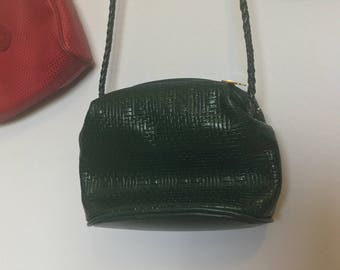 Green double zipper crossbody bag