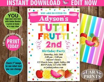 INSTANT DOWNLOAD / edit yourself now / Birthday Invitation / Two-tti Frutti / Twotti Frutti Party / Tutti Fruity / Tutti Fruitti / pink DTF2