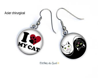 Earrings dissociated, cabochons, white, black, cat Meow, mustache, i love my cat, surgical steel hooks