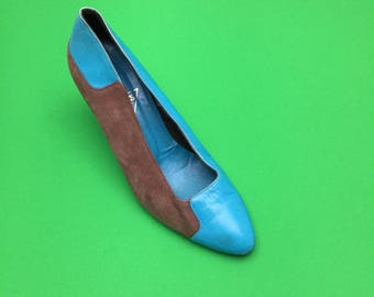 Vintage Jacques Vert Turquoise and grey suede leather heels pumps shoes