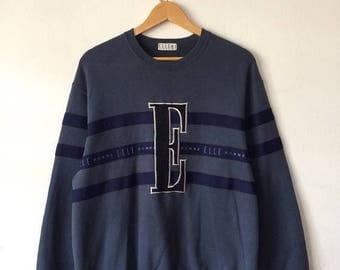 15% OFF Vintage ELLE HOMME Paris Sweatshirt Big Logo Spell Out Embroidered With Striped Fashion Large Size