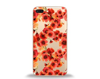 Floral phone case, poppy phone case, poppy iphone case, cute iphone cases, iphone 6 case, samsung case, silicone phone case, htc case, lg