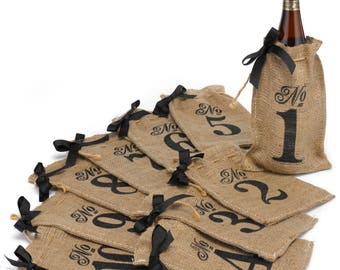 Burlap Table Number Wine Bags