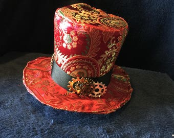 Red & Green Brocade Mini Top Hat