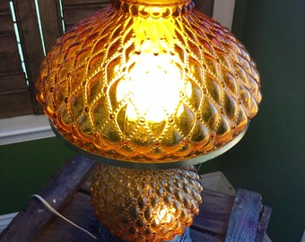 Vintage Amber Glass 3-setting electric frosted hurricane lamp, Hedco co. and Fenton Glass