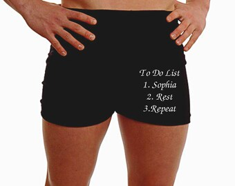 Personalised Mens Boxer Shorts Underwear ANY MESSAGE Christmas Do To List Gift Husband Present 2nd Anniversary 100% Cotton - Leg