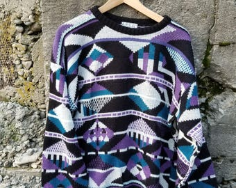 Geometric Messy Cosby Sweater. Vintage Sweater by goodies and co.