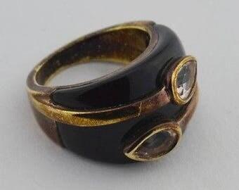 Sterling Silver 925 Fancy Black Enamel Copper Vermeil White Gemstone Ring Size 7