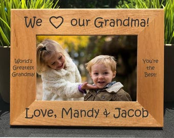 I Love my Grandma // Personalized Engraved Photo Frame // Picture Frame / Grandmother // Abuela // Grannie // We Love our Grandma // Gift