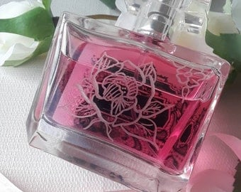 Perfume Fragrance bottle Hand Engraving Cologne Aftershave Glass bottle Anniversary Birthday gift