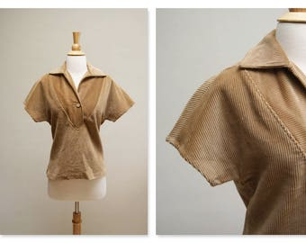Vintage 70s Corduroy Blouse ⎮ 1970s Light Brown Blouse ⎮ Short Sleeve V Neck Top