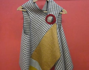 Brown and beige wool vest with wool mustard insert and wool brooch