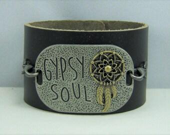 B223, Leather Cuff Bracelet