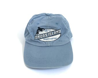 vintage ORCA y2k 90s DAD HAT adjustable Orcas Island San Juans Washington state vintage cap