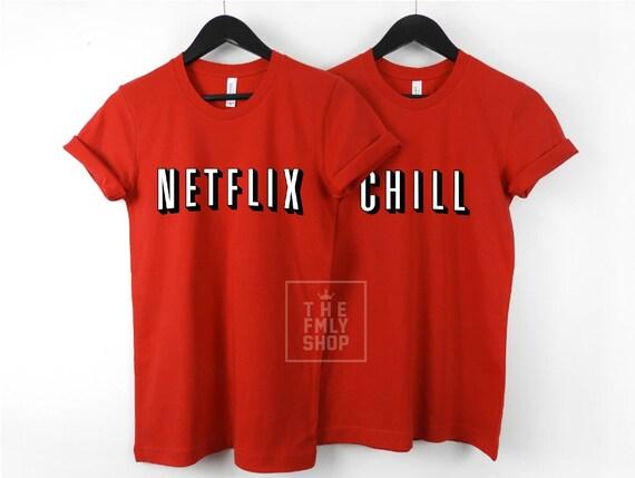 Netflix Chill Couple T-shirts, Unisex Netflix T-shirt, Couple Shirts, Couple Gift, Netflixx Funny Shirt, Home Shirts, Couple Gift