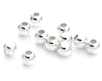 Jewelry beads Intercalaires 100 silver plated 5 mm smooth round