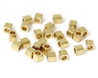 50 spacer beads cube - Diam. 2 mm - color gold
