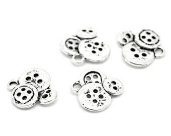 10 pendants silver button charm