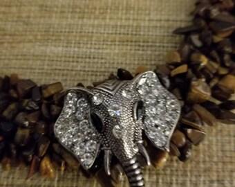 Elephant tiger eye bib necklace