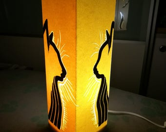 Table lamp cats in silhouette 10x10x30 cm