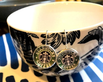 Handmade Starbucks coffee cabochon earrings- 16mm