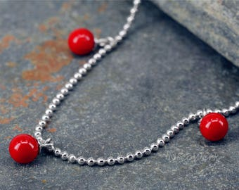 Anklet silver ball Anklet 925 ladies jewelry gift SFK117