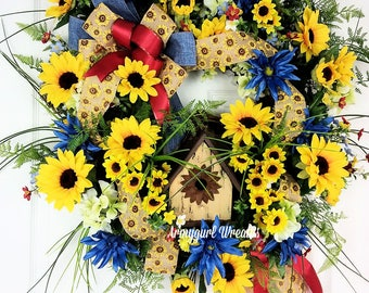 Sunflower Wreath, Yellow Sunflowers, Summer Wreath, Grapevine Wreath, Birdhouse Wreath, Sunflower Door Décor, Door Decor