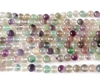 Rainbow fluorite beads - 8mm beads - round beads - gemstone beads