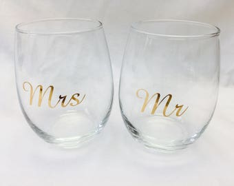 Mr And Mrs Decal Etsy - Wine glass custom vinyl stickers