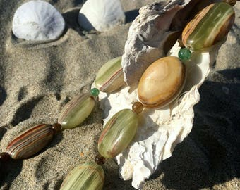 Banded Onyx Necklace with Indian Aventurine