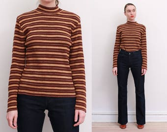 90s Striped Ribbed Mock Turtleneck Sweater / M