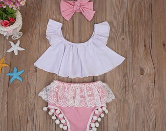 3 Pieces Pink and White with pom poms Baby Clothing Set