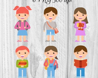 6 School children characters clipart Back to school clipart Digital school elements School graphics Schoolkid clipart Happy school clipart