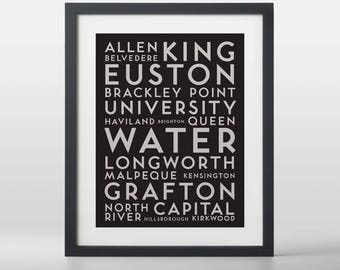 Charlottetown City Streets Typography Art Print