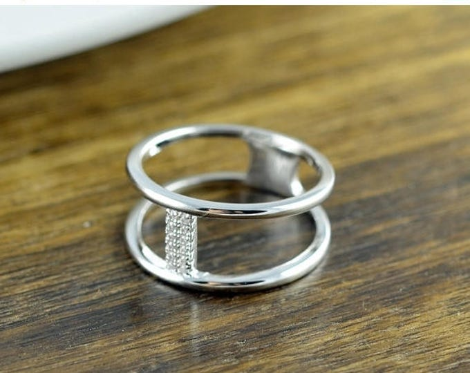 10% off SALE Sterling Silver Double Shank CZ Ring - Sterling Silver Bar Ring - Modern Band - Bar Pillar Ring - Silver Ring - Minimalist Ring