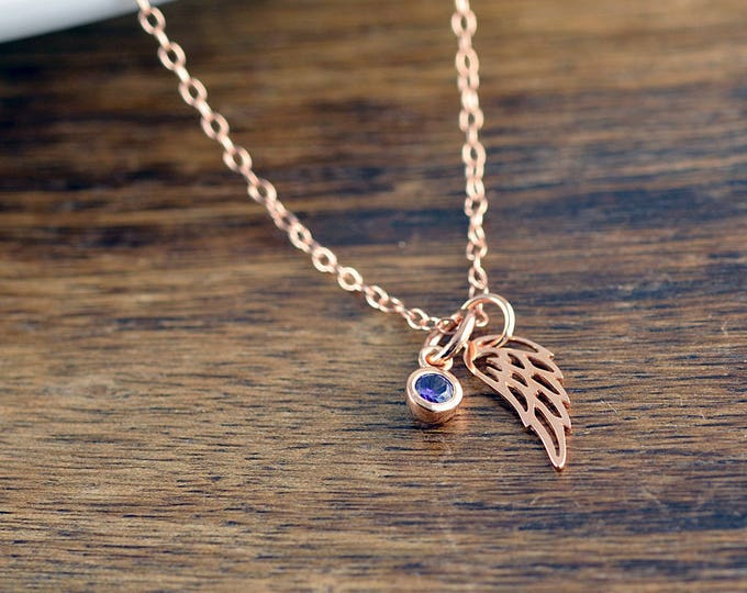 Rose Gold Wing Necklace, Angel Wing Charm Necklace, Birthstone Necklace, Memorial Jewelry, Wing Necklace, Remembrance Gifts