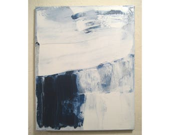 Original Small Abstract Painting # 185 - Expressionism Minimalist Blue and White Canvas Gallery Wall Art Modern 16x20 Contemporary Art