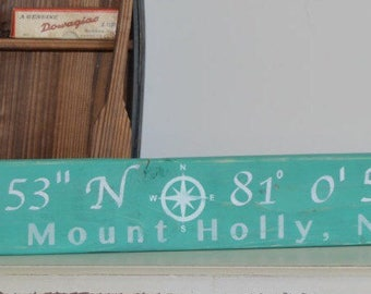 Latitude longitude sign / GPS coordinates sign / City and State sign / compass sign / house warming gift