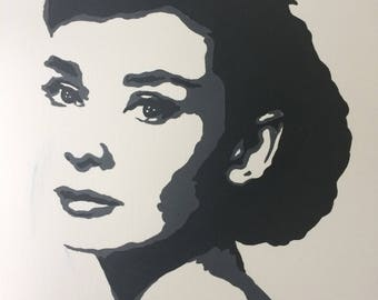 Audrey Hepburn acrylic painting